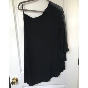 One shoulder sleeve, little black cocktail dress